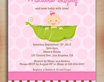 Pea in a Pod Baby Shower Invitation, Baby in a Pod Baby Shower Invite, Girl Pea in a Pod Baby Shower Invite-Digital File You Print