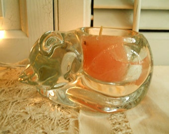 Vintage Solid Glass Sleeping Kitten Candle Holder Home Decor Shabby Chic Farmhouse Prairie Cottage