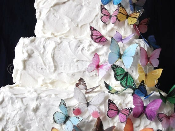 Birthday Cake Topper - 30 Edible Butterflies in All Sorts - Wedding Cupcakes, Edible Paper, Cake Supply