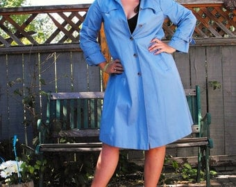 Blue babydoll trench coat