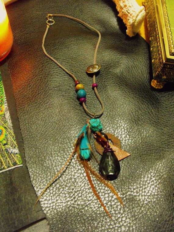 Rustic Tribal Feather Necklace