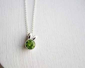 Green Bunny Necklace, Peridot and Sterling Silver