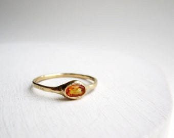 14K Yellow Gold Ring with 5 x 3mm Oval Citrine, MADE TO ORDER