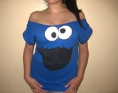 PLUS SIZE - Sesame Street cookie monster Womens Custom Diy Sexy Tunic Scoop Top