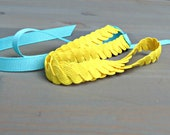 SALE Bright Yellow and Aqua Tie Headband . Gifts for Her . Free Shipping