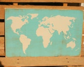 World Map hand painted wood sign