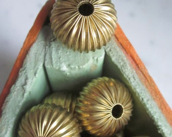 11 x 16 mm Vintage Crimped Pleated  Hollow Brass  Beads