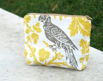 Makeup bag, Toiletry bag, Accessory Pouch, Bridesmaid gift, Wedding Pouch, Makeup pouch, Utility Bag, Brown Bird Travel Bag