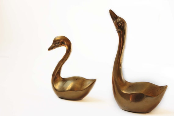 Set of Two Metal Swan Paperweights