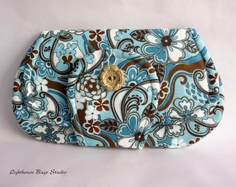 Pocket Clutch / the larger version in Floral Blue & Brown Fabric