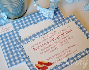 "Dorothy / Ruby slipper printable party invitations and envelopes 4x6"" or 5x7"""