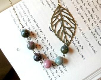 Leaf bib necklace- Filigree bib necklace- Asymmetrical beaded necklace- Jasper beads-Beaded necklace- Leaf- Green- Brown