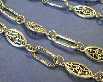 Tibetan antique silver large oval links chain (25 x 10 mm)- 39 inches (1 meter)
