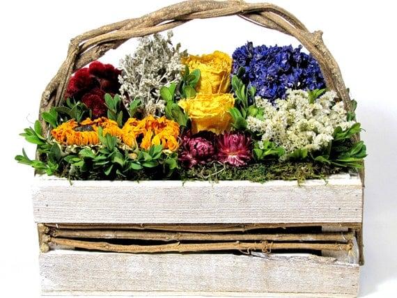Market Basket Dried Floral Arrangement, Decor, Dried Flowers, Contemporary Floral, European Floral