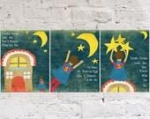 Twinkle Twinkle Little Star Boy Nursery Wall Art, Superhero Kid Boy, Set of 3 Prints, Space and Stars Art Theme Decor, Superhero Cape
