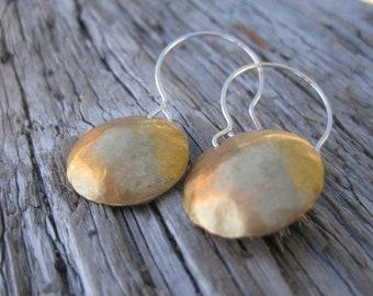 SALE - Brass Hammered Earrings