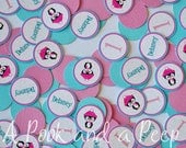 Penguin Winter Onderland / Wonderland Birthday or Shower Personalized Confetti in Pink and Teal Blue Decoration