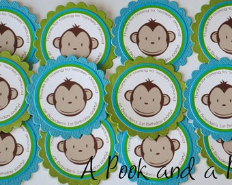 Blue and Green Boy Monkey Favor Tag or Sticker - Birthday Parites and Baby Showers