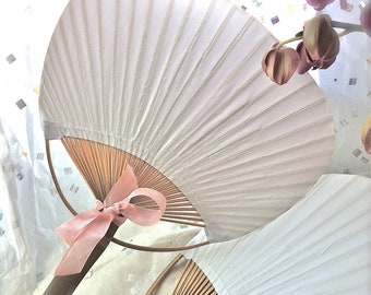 Bamboo and Paper Paddle Style Fan