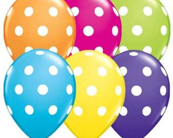 Polka Dot Balloons-Set of 10 w/Handmade Tassels
