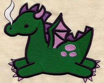 Baby Green dragon embroidered feeding bib