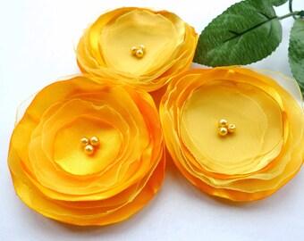 Set of 3 handmade Marigold fabric/organza flowers, Flower appliques embellishments