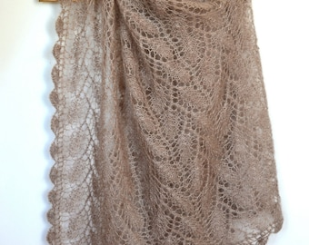 Very soft hand-knitted shawl/scarf (mohair & silk)