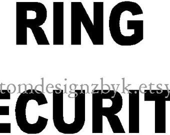 Wedding Ring Security iron-on shirt decal transfer NEW by kustomdesignzbyk