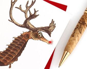 Nautical Christmas Card, Seahorse Reindeer, Funny Christmas Card
