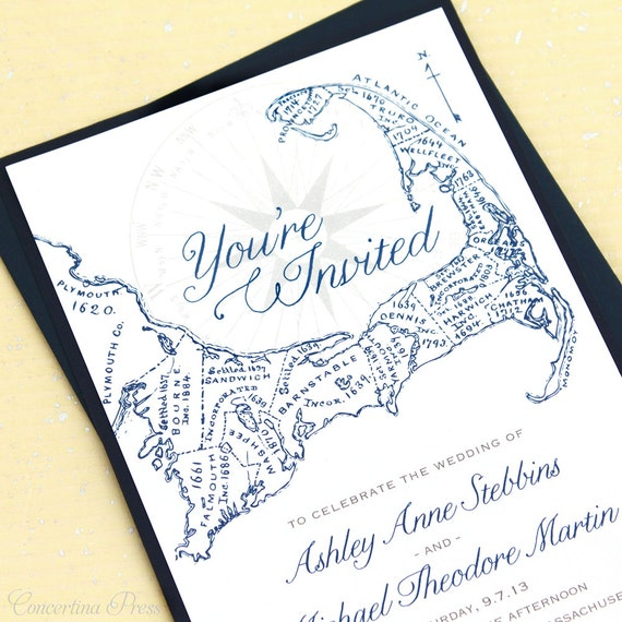 Cape Cod Wedding Invitations Sample With By ConcertinaPress
