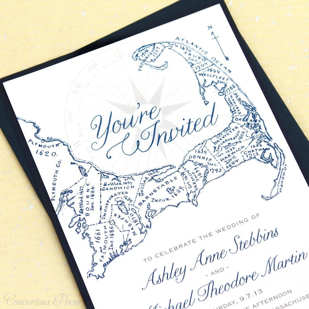 Cape Cod Wedding Invitations Cape Cod Map By ConcertinaPress