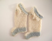 1920's Hand Knit Mint Green and Cream Stockings