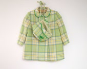 1950's Green, Ivory, Blue and Yellow Plaid Double Breasted Wool Coat and Bonnet Set
