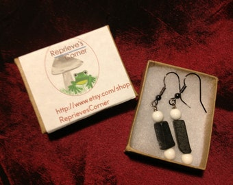Black and White: Handmade Earrings Featuring Stone Beads-- Clearance Price