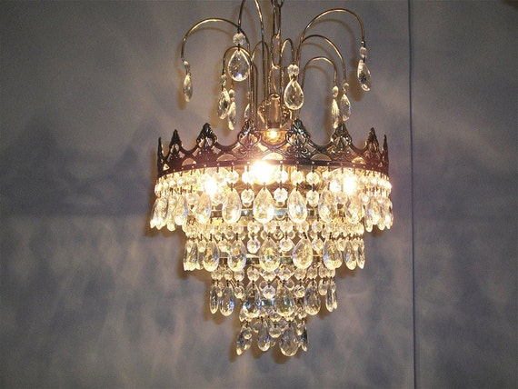 RESERVED RESERVED  Gift Guide A stunning vintage amazing crystal bag chandelier, French lighting, Paris apartment
