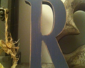 Decorative Freestanding Letter 'R' - Hand-painted Distressed Finish - 15cm - various colours and finishes