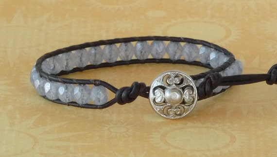 Beaded leather wrap, chan luu style bracelet, light blue, dark brown leather