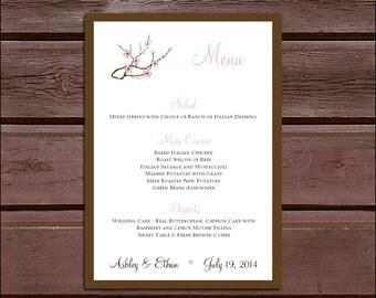 150 Cherry Blossoms Pink Wedding Menu Cards - Dinner Menus