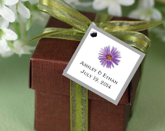 100 Lavender Purple Daisy Favor Tags.  Wedding Favors