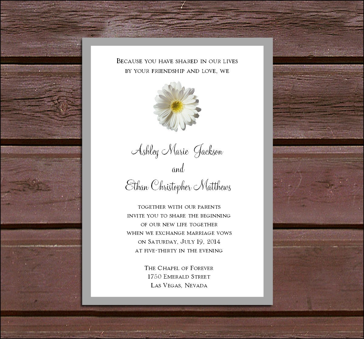 White Daisy Wedding Invitation: White Daisy Wedding Invitations RSVP's Reception Insert