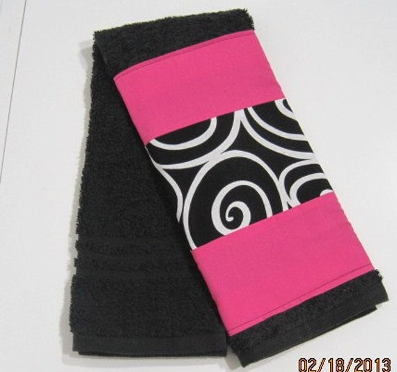 Hot Pink Towels Bathroom: Bathroom Hand TowelBlack And White Swirl With Hot By