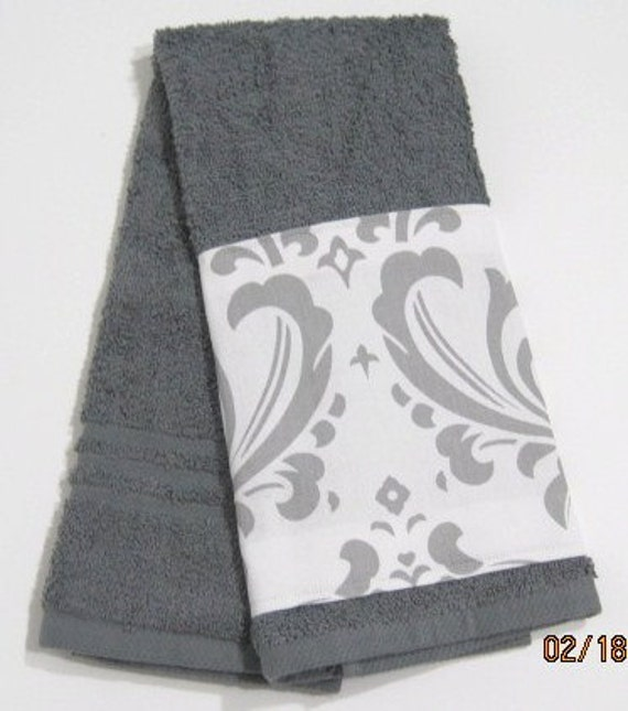 clearance bathroom hand towel grey and white damask by dreamatheme. Black Bedroom Furniture Sets. Home Design Ideas