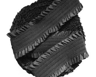 "3 6/8""inches (9.5cm) Black with Frills Stretch Elastic Band. (1 Yard)"