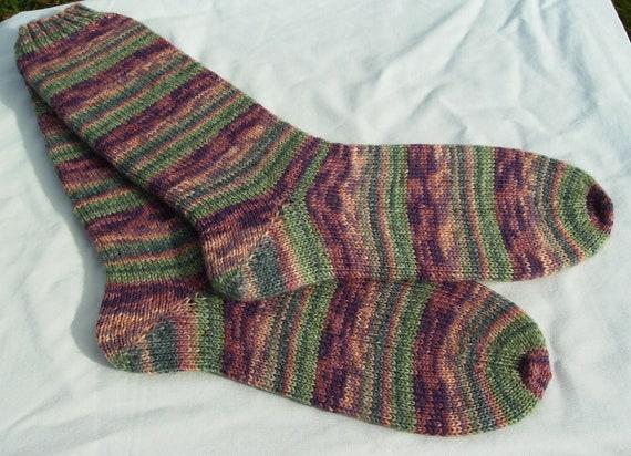 Hand knit Womens socks size UK 5 - 6 US  7 -  9  38 -39 EU (small mens)