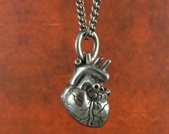 "Anatomical Heart Necklace - Small Black Sterling Silver Anatomical Heart Pendant on 24"" Gunmetal Chain - The Black Heart"