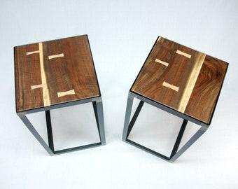 Black Walnut Industrial End Table Set