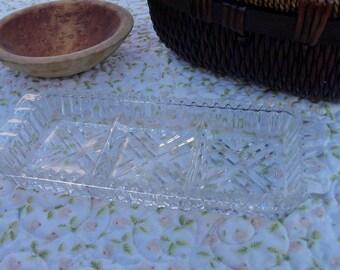 Chevron Relish Tray Glass Collectible Three Part Serving Cru de Te Pickles Appetizers Depression