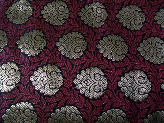 Fat quarter of  Indian silk brocade fabric in black ,red and gold