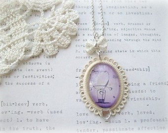 ON SALE  Cream Lace Edged Pendant with Purple Boy Necklace