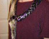 Dragon wing scarflette with scaled dragon hide Czech glass button with horse purple scales black scales OOAK original design